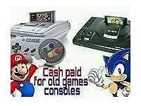 Wanted old games consoles the older the better private collector cash waiting