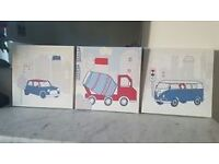 3 x Boys Bedroom Transport Canvas Wall Art Pictures
