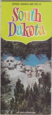 1971-72 Official State Issue Road Map Of South Dakota