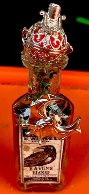 Apothecary Dr Wormtongues Ravens Blood Herb Bottle  Diffuser Ball WICCA OOAK