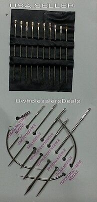 18 Needles Curved Mattress Upholstery Sail Carpet & Self Threading Needles NEW