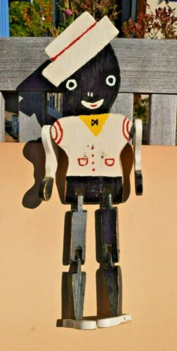 "VTG 14.5""  Toy Minstrel Wood Dancing Figure Limberjack Black Americana Folk Art"