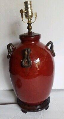 Red Glazed Stoneware Ginger Jar Lamp Wood Base ()