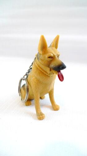 German Shepherd Plastic Dog Figurine Clip-On Key Chain Tongue Wags