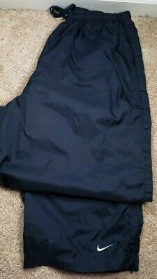 NIKE-Navy Nylon Shell, Mens Packable Athletic Wind/Rain Pants-(XL)