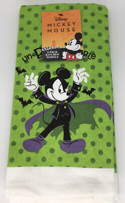 Disney Halloween Mickey Mouse Un-Boo-Lievable Dish Towels 2 Pack NEW!