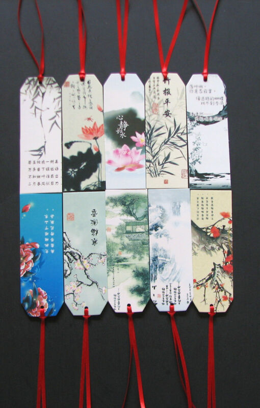 10 pcs Chinese painting poem book marks with ribbon