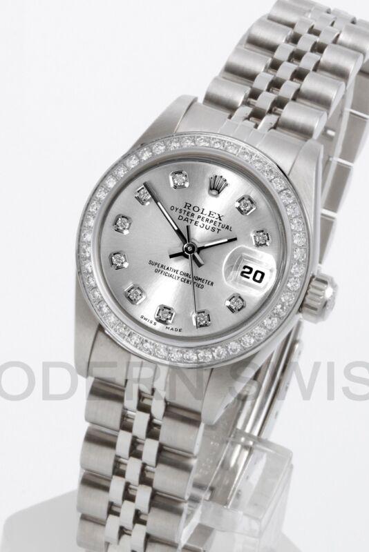 Rolex Ladies Datejust Steel Silver Diamond Dial & Bezel Jubilee Oyster Perpetual