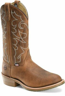 """Double H Men's 12"""" Gel ICE Work Western Cowboy Boot Safety Toe, Brown, DH1592"""