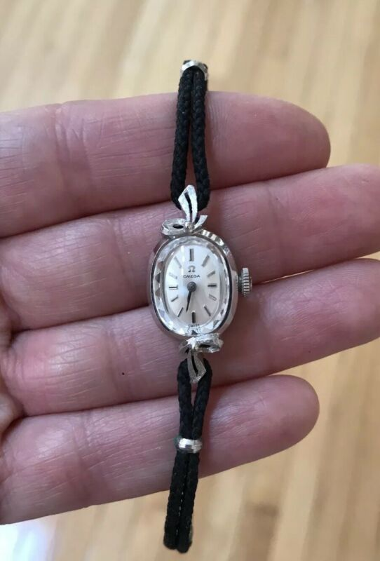 Vintage Omega ladies watch 14k white gold with black cord  band