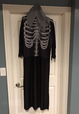 Adult Long Halloween Grim Reaper Skeleton Costume One Size Fits All B21