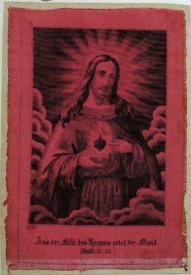 Heiligstes Herz Jesus Christus Andachtsbild Heiligenbild auf Stoff (O-6593
