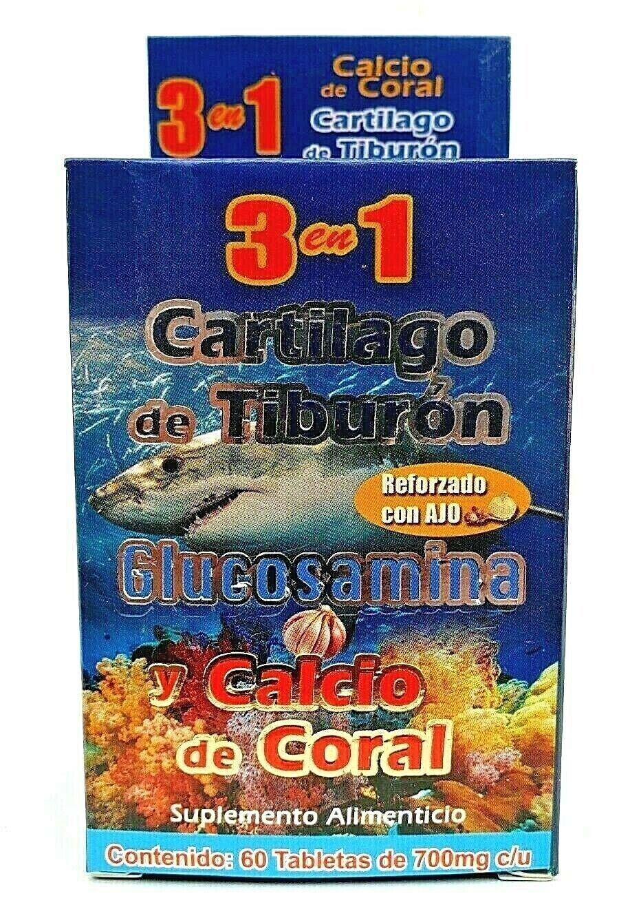 3 en 1 CARTILAGO TIBURON GLUCOSAMINA CALCIO CORAL REFORZADO + AJO FREE SHIPPING 4