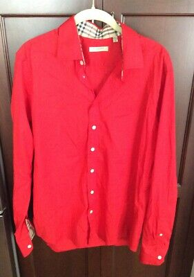 VINTAGE BURBERRY LONDON RED CLASSIC BUTTON DOWN SHIRT MEDIUM