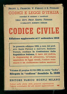 FRANCHI FEROCI FERRARI CODICE CIVILE MANUALI HOEPLI 1958 DIRITTO