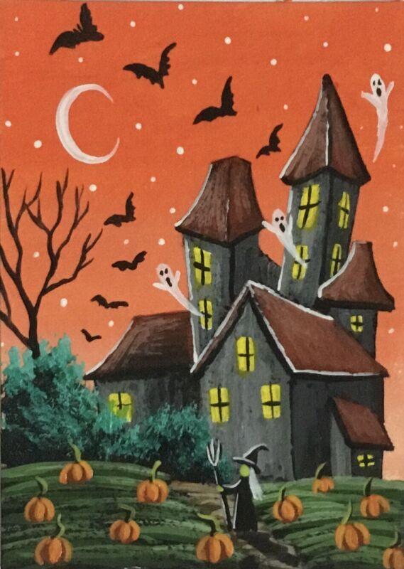 ACEO Original Halloween Mini Acrylic Sketch Card Witch