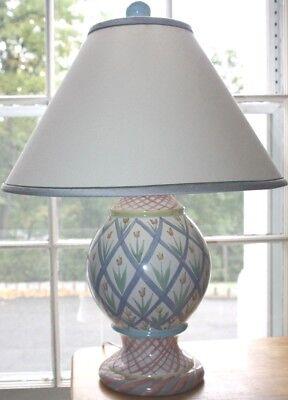 Mackenzie Childs Pastel Hand Painted Ceramic Globe Table Lamp Finial & Shade