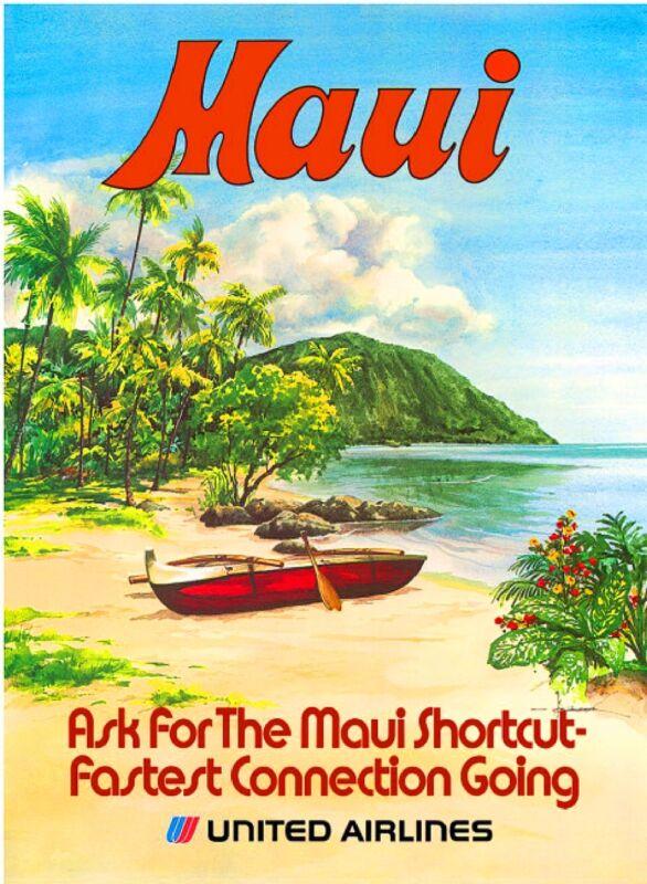 1960s Maui Hawaii Hawaiian Beach United States Travel Advertisement Art Poster