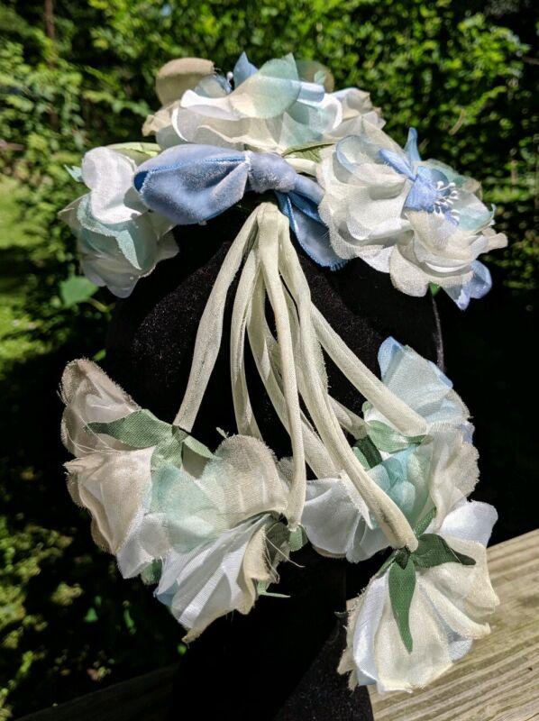 Vintage Ladies Blue Flower Hat Headpiece Velvet Bow