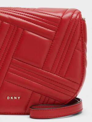 DKNY Paris Studded Top-Handle Brown Pebble Leather Small Crossbody Bag $228 NEW