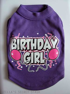 Dog Pet Clothes T-shirt Birthday Girl Balloons Tank Tee Sm 10 Purple Top