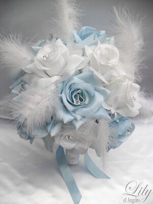 17pcs Wedding Bridal Bouquet Flowers BABY BLUE WHITE Bride Boutonniere Feathers