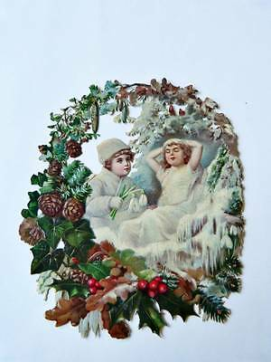 alte Oblate geprägte Pappe Winterwald schlafendes Christkind mit Glitzer Lorbeer