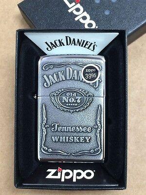 Zippo Jack Daniels Label Pewter Emblem High Polish Chrome Lighter 250JD427 NEW