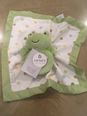 New! Carter's green frog security blanket with satin border and rattle
