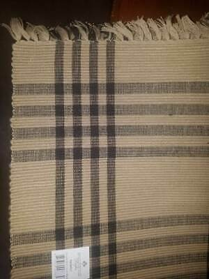 New! Chesterfield Check Black Dark Ecru/Taupe Placemats Raghu Home Collection