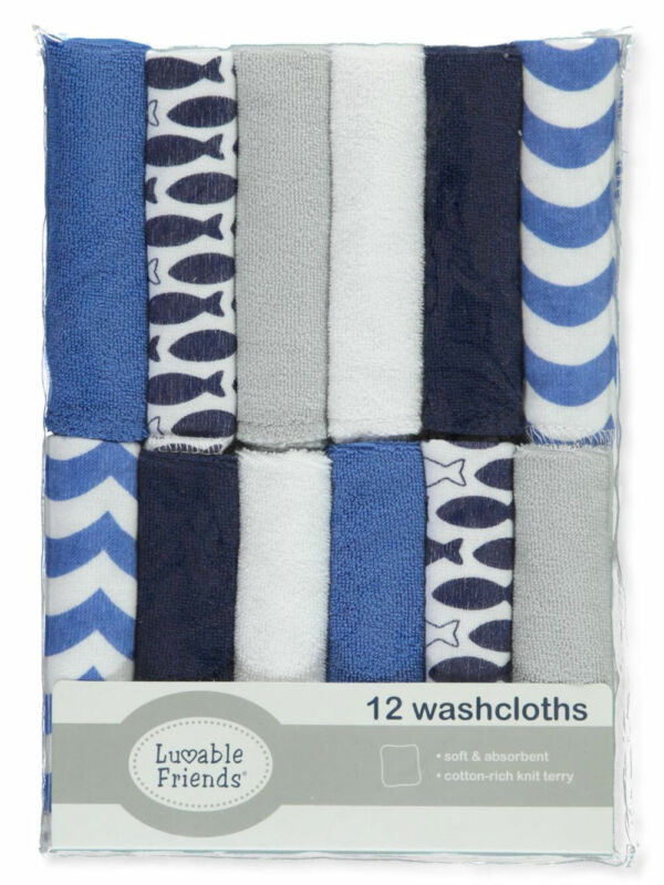 Luvable Friends Fishy Basics 12-Pack Terry Washcloths