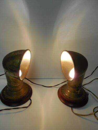 "NAUTICAL BULKHEAD VINTAGE BRASS NIGHTSTAND LAMP PAIR 9,5"""