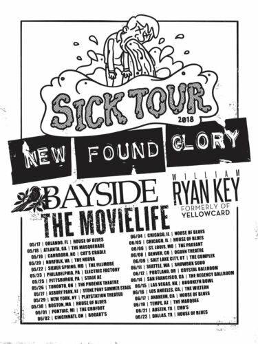 "NEW FOUND GLORY/BAYSIDE/THE MOVIELIFE ""SICK TOUR 2018"" CONCERT POSTER - Pop Punk"