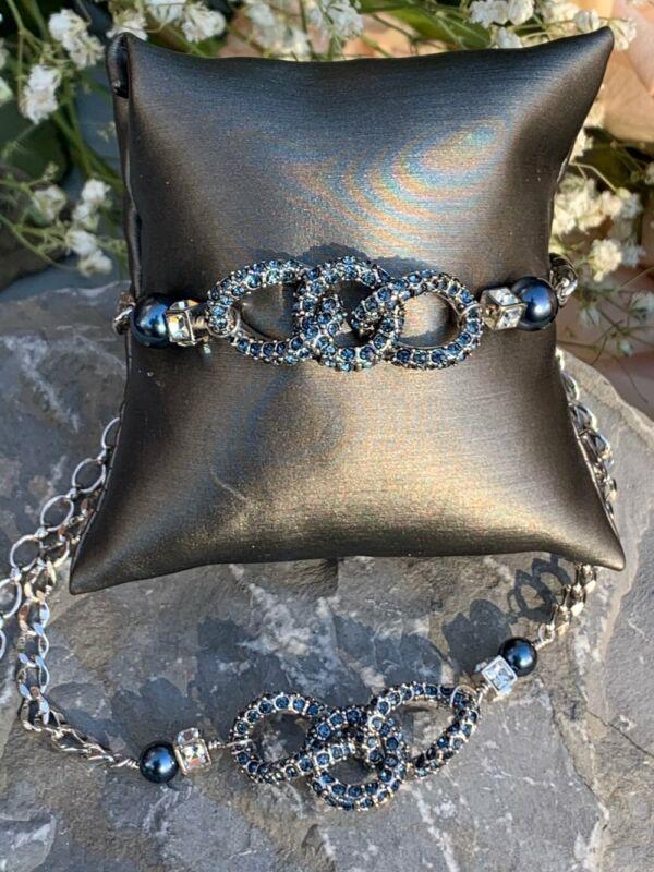 Givenchy Designer Signed Blue Rhinestone & Tahitian Pearl Necklace Bracelet SET