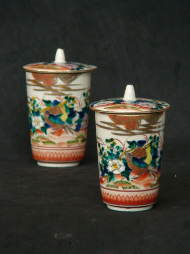 Vintage Set of 2 Japanese Kutani Porcelain Tea cup Chawan Bird & Flower Signed