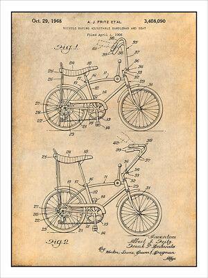 1968 Stingray Bicycle Patent Print Art Drawing Poster 18X24