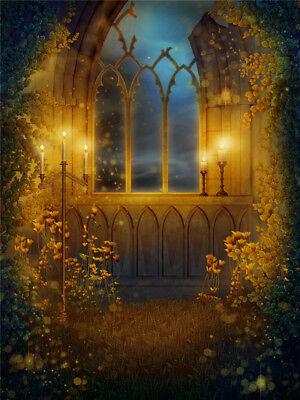 Halloween Fall Arch Window Garden Vinyl Studio Backdrop Photo Background 6x9FT - Windows Halloween Backgrounds