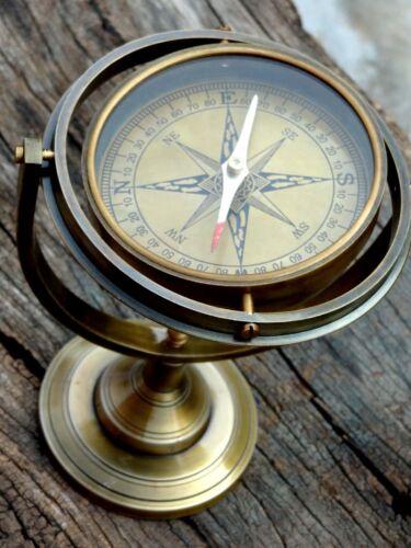 Vintage Ship Floating Jumble Compass - Antique Brass Gimble Compass Navigation