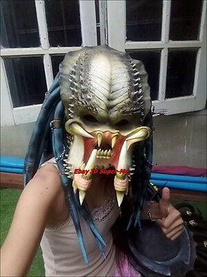 Elder Predator Halloween Mask Costume  Full Face Prop Cosplay Adult Latex Alien  (Full Predator Halloween Costumes)