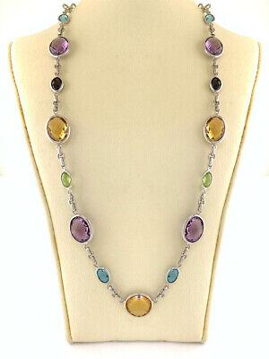 Multi Gemstone Station Necklace Link Chain oval Cut Bezel Set Sterling Silver  Gemstone Circle Link