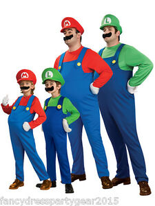 New-Adult-Mens-Boys-Kids-Super-Mario-and-Luigi-Bros-Fancy-Dress-Costume-Plumber