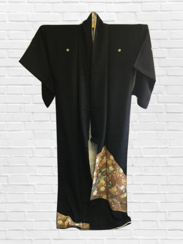 VINTAGE JAPANESE KIMONO, ANTIQUE TOMESODE, CRAFT MATERIAL, FROM JAPAN, CULTURE