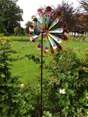 Doppelläufiges Windrad Pfau Gartendeko Gartenstecker Windspiel Metall