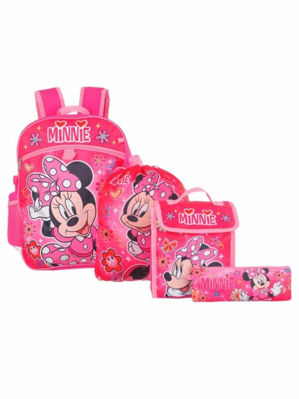 "Minnie Mouse Girl 16"" Backpack And Back to School Essentials 5 Piece Set"