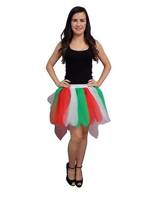 Neon Red White Green 8 Layer Tutu Skirt with Bustle Christmas 80's Fancy Dress - Bustle Skirt Kostüm