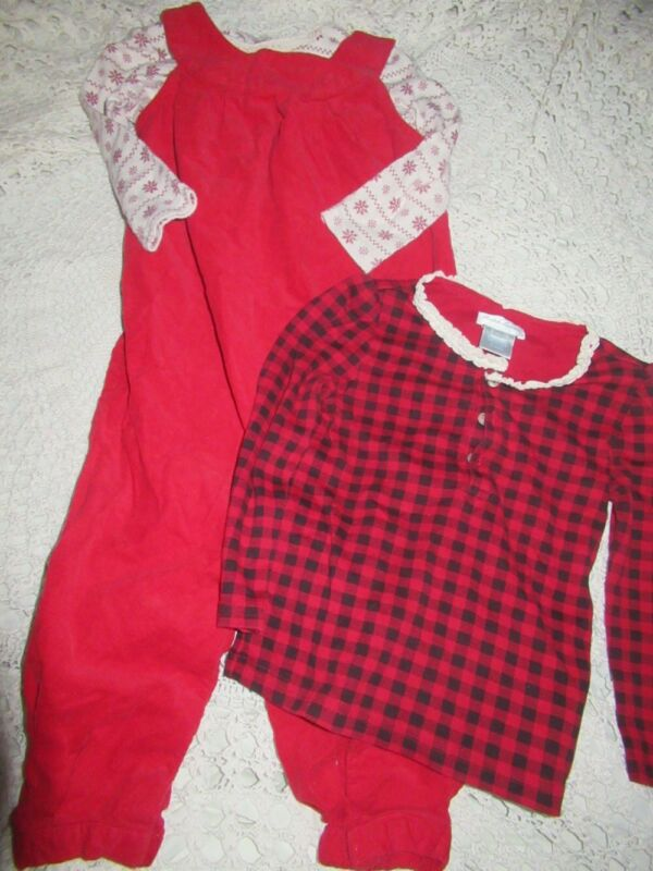 Euc Lot Ralph Lauren Red Cord  Overalls & 2 Shirts Baby Girl 18 M Free Ship Usa