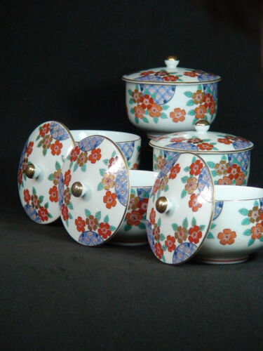 Set of 5 Antique Japanese Kutani Porcelain Teacup with lid Chawan Flower & Gold