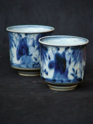 Japanese 2 Teacup old KO-IMARI blue and white porcelain in 18c Arita Japan Edo