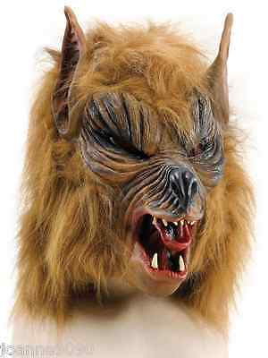 Halloween Brown Hairy Scary Werewolf She Wolf Fancy Dress Costume Overhead Mask