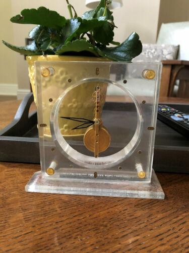 Jaeger LeCoultre Rare Table Clock Baguette movement Golden Bridge